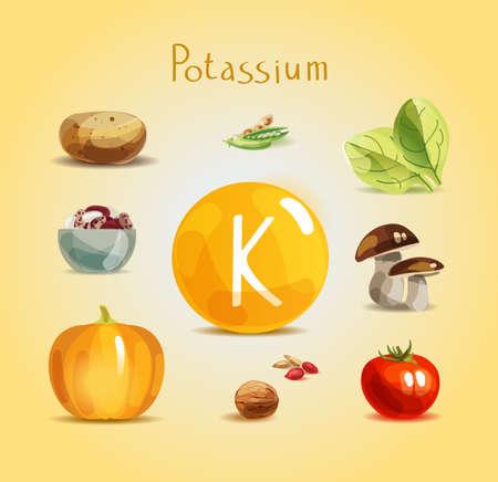 Kalium in Lebensmitteln. Natürliche Bio-Produkte mit hohem Kaliumgehalt. Vektorgrafik
