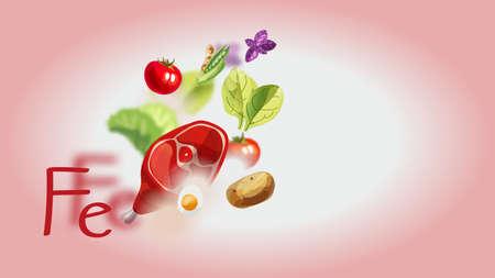 Ferro negli alimenti. Prodotti biologici naturali ad alto contenuto di Ferro. Una sana alimentazione come base di uno stile di vita sano.