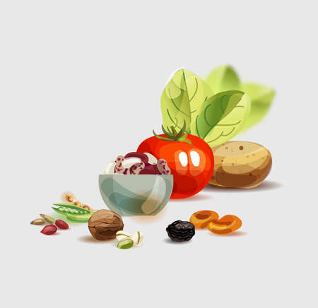 Natural organic food.  Healthy nutrition as the basis of a healthy lifestyle. Stock Illustratie