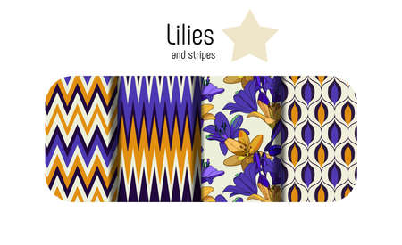 Lilies on vintage. Combined set of seamless patterns. Vintage style for fabric, wallpaper, cards Stok Fotoğraf - 117453985