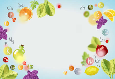 Vitamins and minerals. Background with vitamins, minerals and fresh fruits and greens. A healthy diet is the basis of a healthy lifestyle.
