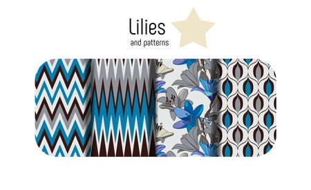 Lilies on vintage. Combined set of seamless patterns Çizim
