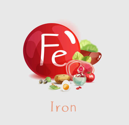 Iron in food. Natural organic products with a high content of Iron. Healthy nutrition as the basis of a healthy lifestyle. Foto de archivo - 116488203