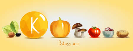 Kalium in Lebensmitteln. Natürliche Bio-Produkte mit hohem Kaliumgehalt. Gesunde Ernährung als Grundlage eines gesunden Lebensstils.