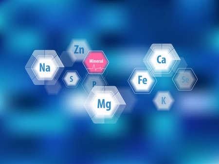 Mineralien für die menschliche Gesundheit. Magnesium, Kalzium, Eisen und andere. Vektorgrafik