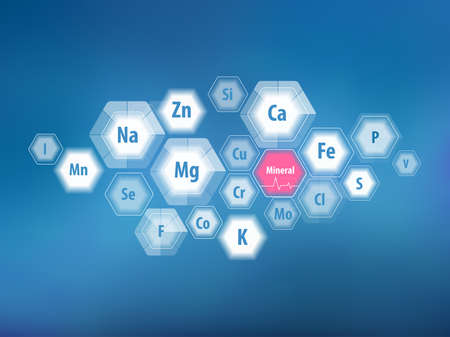All minerals for human health. Magnesium, calcium, iron and others. Scientific research. Abstract composition of hexagons. Stock Vector - 124943300