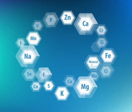 All minerals for human health. Magnesium, calcium, iron and others. Scientific research. Abstract composition of hexagons.