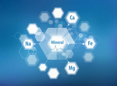 All minerals for human health. Magnesium, calcium, iron and others. Scientific research. Abstract composition of hexagons. Stok Fotoğraf - 124943304