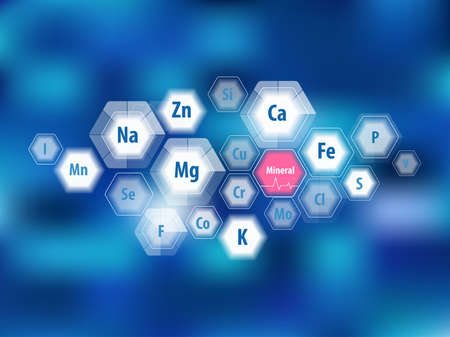 All minerals for human health. Magnesium, calcium, iron and others. Scientific research. Abstract composition of hexagons. Stock Vector - 124943306