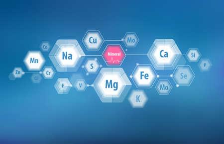Alle Mineralien für die menschliche Gesundheit. Magnesium, Kalzium, Eisen und andere. Wissenschaftliche Forschung. Abstrakte Komposition von Sechsecken. Vektorgrafik