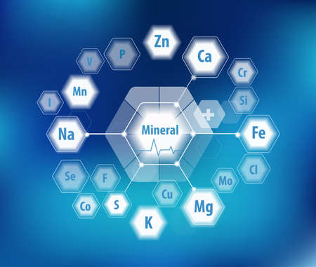 Alle Mineralien für die menschliche Gesundheit. Magnesium, Kalzium, Eisen und andere. Wissenschaftliche Forschung. Abstrakte Komposition von Sechsecken.