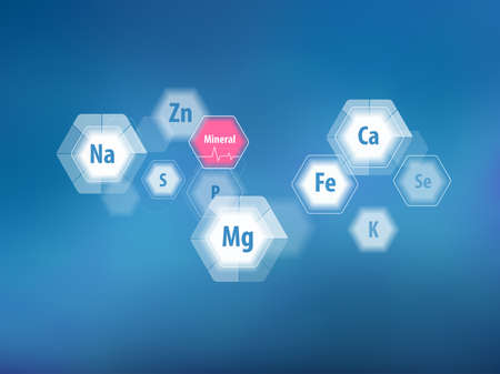 minerals for human health. Magnesium, calcium, iron and others. Scientific research. Abstract composition of hexagons.