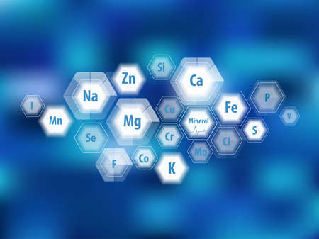 All minerals for human health. Magnesium, calcium, iron and others. Scientific research. Abstract composition of hexagons. Stock fotó - 124943312