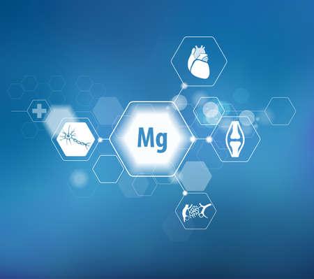 Magnesio. Ricerca scientifica. Oligoelementi. Composizione astratta