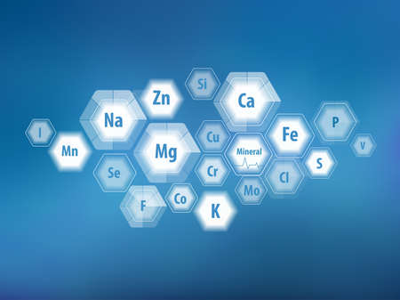 All minerals for human health. Magnesium, calcium, iron and others. Scientific research. Abstract composition of hexagons. Stock Vector - 124943317