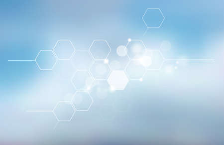 Abstract blurred science background with hexagons. Medicine, technology, high technology, Scientific research.