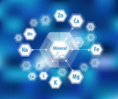 All minerals for human health. Magnesium, calcium, iron and others. Scientific research. Abstract composition of hexagons. Stock fotó - 124943324