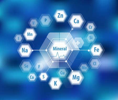 Wszystkie minerały dla zdrowia ludzkiego. Magnez, wapń, żelazo i inne. Badania naukowe. Abstrakcyjna kompozycja sześciokątów.