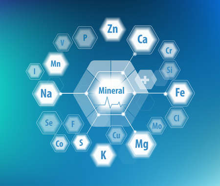 All minerals for human health. Magnesium, calcium, iron and others. Scientific research. Abstract composition of hexagons. 写真素材 - 124943327