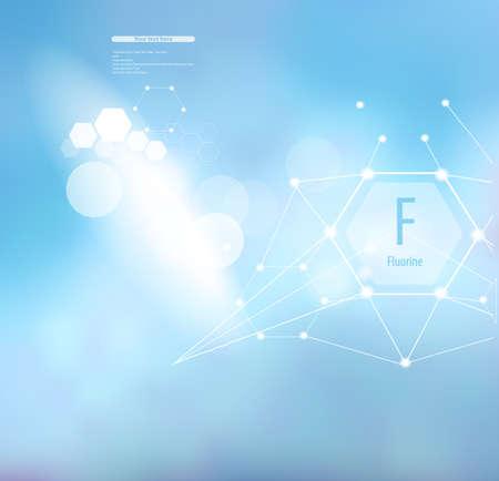Fluor. Abstrakter Hintergrund mit Fluorzeichen und -schablone für Text. Vitamine und Mineralien.