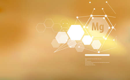 Magnesium. Abstract background with magnesium sign and template for text. Vitamins and minerals. Illustration