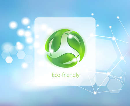 Caring for the environment. Symbol for eco-friendly products on abstract background. Science and research. Illustration