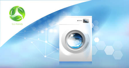 Washer. Modern household appliances and environmental care. An image of a washing machine on an abstract blue background, an abstract label for eco-friendly products.