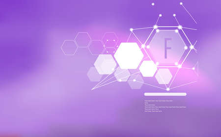 Fluorine. Abstract background with Fluorine sign and template for text. Vitamins and minerals.
