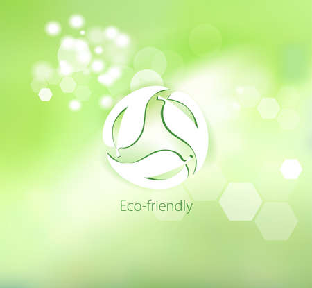 Caring for the environment. Symbol for eco-friendly products on abstract background. Science and research.