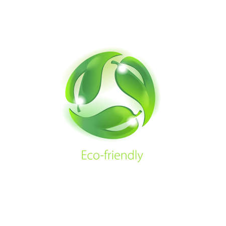 Caring for the environment. Symbol for eco-friendly products on white background. Science and research.