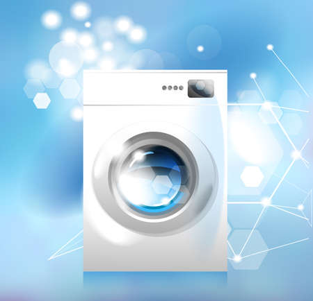 Washer. Modern household appliances. An image of a washing machine on an abstract blue background.