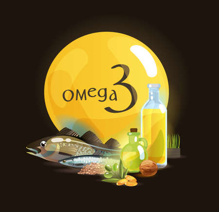 Omega 3. Basics of healthy nutrition. Polyunsaturated fatty acids in foods high in Omega 3. Natural organic foodutrition. Ilustrace