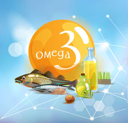 Omega 3. Natural organic products with a high content of trace elements and the conventional omega 3 symbol on a modern background with polygonal elements. Ilustrace