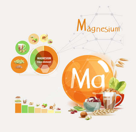 Magnesium. Top natural organic foods high in trace element Magnesium. Chart Illustration