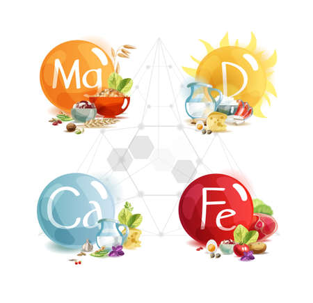 The main trace elements for human health: magnesium, potassium, calcium, vitamin D.