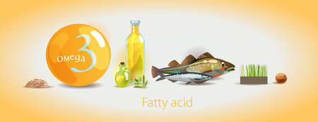 Omega 3. Polyunsaturated fatty acids. Natural organic food with high omega-3 content. Fundamentals of healthy nutrition.