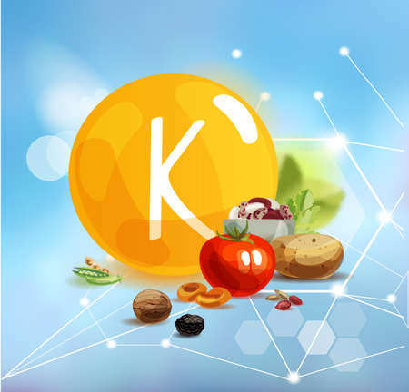 Potassium. Natural organic products with a high content of trace elements Potassium nd the conventional sign Vitamin K on a modern background with polygonal elements.