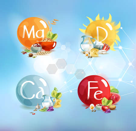 The main trace elements for human health: magnesium, potassium, calcium, vitamin D. A set of four compositions with foods high in these trace elements.