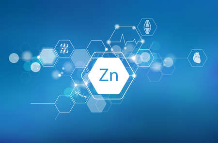 Zinc. Scientific medical research, the effect on human health. 矢量图像