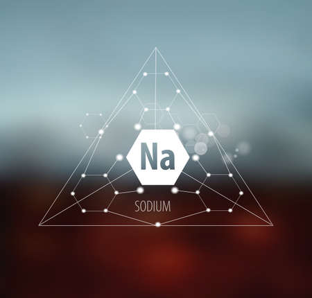 Sodium. Abstract drawing in modern style. Polygonal element on blurred background. Scientific research, medicine.