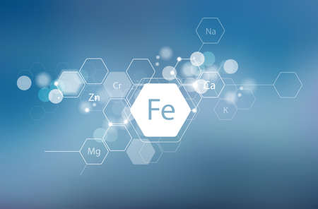 Iron and other essential minerals for human health. Abstract composition in modern style. Scientific research, medicine. Schematic designation of Iron.