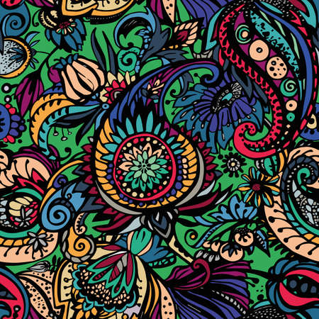 Paisley. Seamless floral pattern with oriental paisley or buta ornament. Textile 向量圖像
