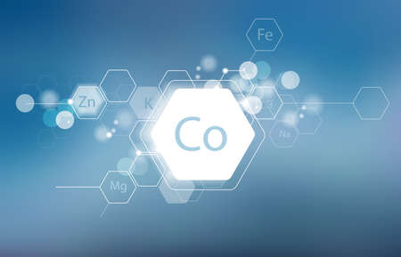 Cobalt. Minerals for human health. Structural schematic diagram on a blurred background. Conditional image of Cobalt. Illustration