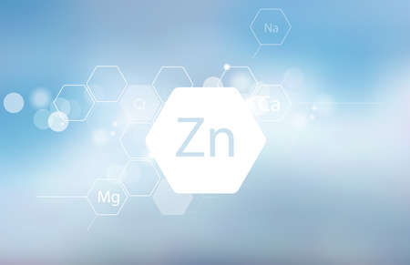 Zinc. Abstract composition with the scientific designation of the trace element on a blurred background. Medical research