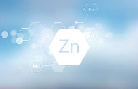 Zink. Abstrakte Komposition mit der wissenschaftlichen Bezeichnung des Spurenelements auf unscharfem Hintergrund. Medizinische Forschung