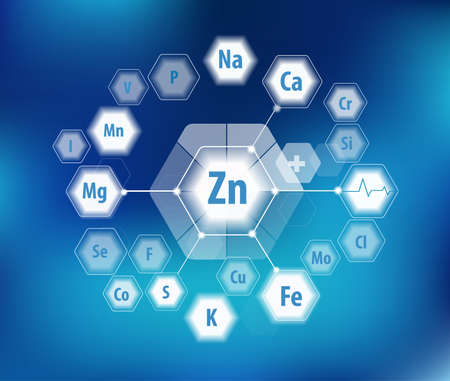 Zinc and all minerals for human health. Pie diagram. Basics of healthy eating