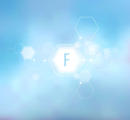 Fluorine. Abstract composition on a blue background in a modern style. Trace elements beneficial to human health. Schematic designation of Fluorine.