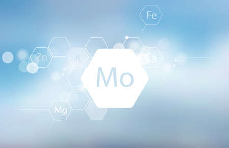 Molybdenum. Abstract composition with the scientific designation of the trace element on a blurred background. Medical research