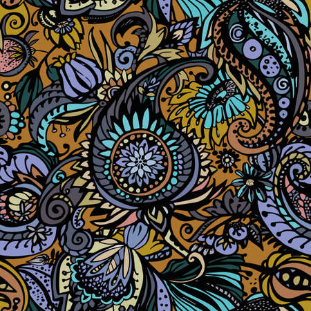 Paisley. Seamless floral pattern with oriental paisley or buta ornament. Banque d'images - 127391685