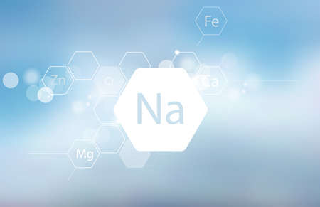 Sodium. Abstract composition with the scientific designation of the trace element on a blurred background. Medical research